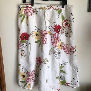 Emma James 14 Linen Blend Floral Print lined Skirt